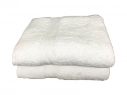 Lot de 2 Draps de Bain Eponge 600 g/m²  100 % coton - Blanche