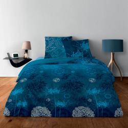 Parure de Draps 160 Japonisant Bleu 100% Coton (4p)