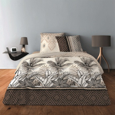 Housse de couette 220x240 + 2 taies Jungle Taupe