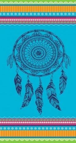 Serviette de plage Dreamcatcher fond bleu 90x170