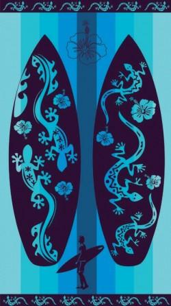 planche de surf bleu avec margouilla