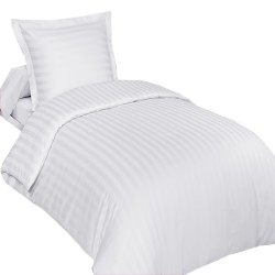 Housse de Couette Percale 140x200 Satin Blanc + taie 65x65