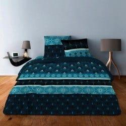 Housse de couette Art deco bleu 220x240 + 2 taies carrées 65x65
