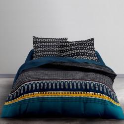 Housse de couette Zippée Graphique Bleu, 240x260cm + 2 taies carrées 65x65cm.
