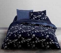 Housse de couette Bleu Floral 220x240 + 2 taies carrées 65x65cm assorties